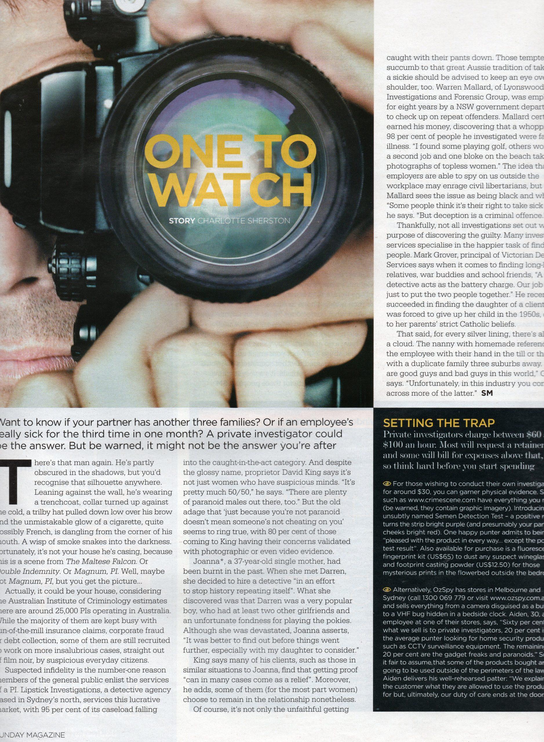private investigator sydney media